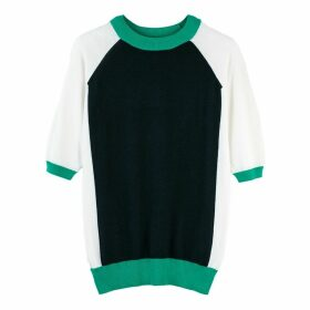 Colour Block Fine Knit Jumper with Short Sleeves