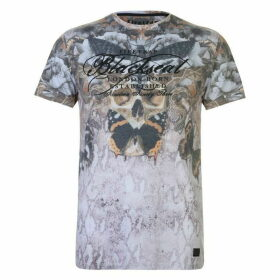 Firetrap Blackseal Moth Skull T Shirt