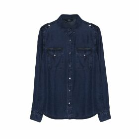 Draping Denim Shirt with Breast Pockets
