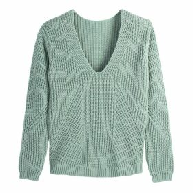 Cotton V-Neck Chunky Knit Jumper