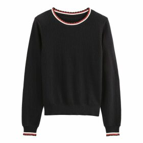 Sporty Crew Neck Jumper in Fine Knit Ribbed Cotton