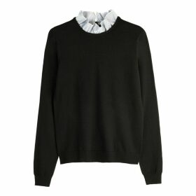 Dual Fabric Jumper with Ruffled Striped Collar