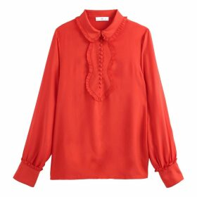 Ruffled Buttoned Blouse with Gathered Sleeves