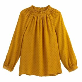 Embroidered Ruffled High Neck Blouse