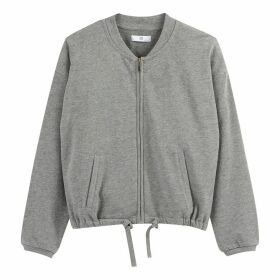 Cotton Zip-Up Crew Neck Jumper