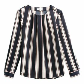 Graphic Stripe Long-Sleeved Crew Neck Blouse