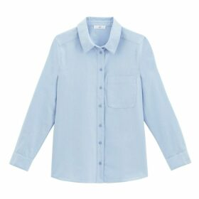 Loose Fit Cotton Boyfriend Shirt with Long Sleeves and Pocket