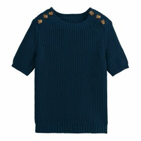 Chunky Knit Ribbed Cotton Jumper with Short Buttoned Sleeves