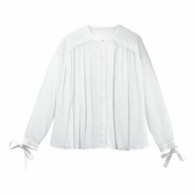 Crinkle Cotton Tied-Sleeve Peasant Blouse