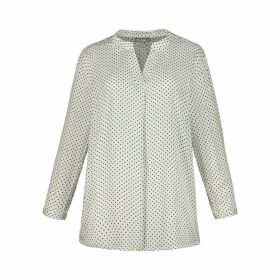 Polka Dot Print Draping Blouse with Grandad Collar