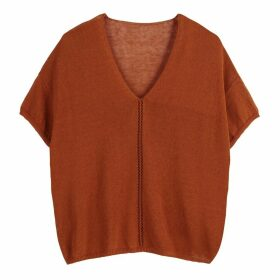 Openwork V-Neck Fine Knit Jumper