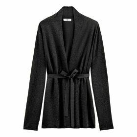Open Shawl Collar Cardigan in Fine Glitter Knit