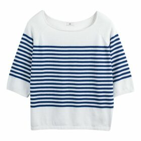 Fine Knit Cotton Boat Neck Breton Jumper