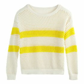 Boat-Neck Mesh Jumper in Cotton Mix