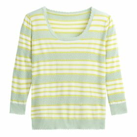 Striped Crew Neck Jumper in Fine Pointelle Knit
