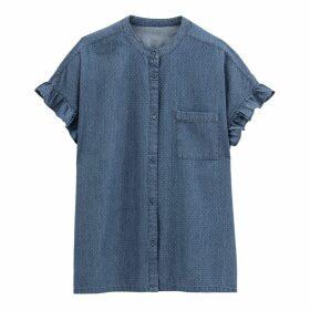 Ruffled Polka Dot Print Denim Shirt