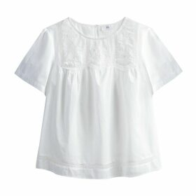 Laced Gathered Cotton Blouse