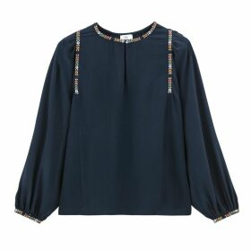 Gathered Braided Mandarin Collar Blouse