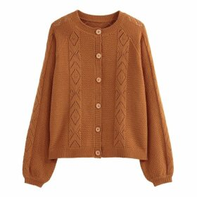 Cotton Mix Openwork Cardigan in Fine Knit