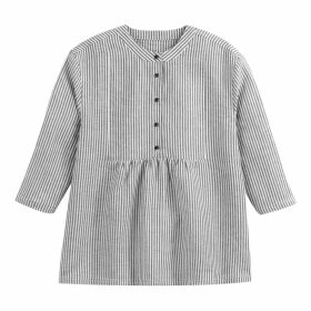 Linen Mix Striped Gathered Blouse