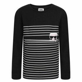 Karl Lagerfeld Stripe Graphic Long Sleeved T Shirt