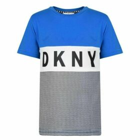 DKNY Stripe Logo Short Sleeved T Shirt