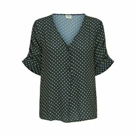 Printed V-Neck Blouse with 3/4 Length Sleeves