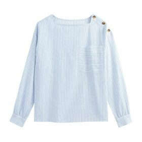 Square Neck Striped Linen Mix Buttoned Blouse