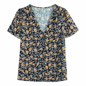 Pleated Floral Print Buttoned Blouse