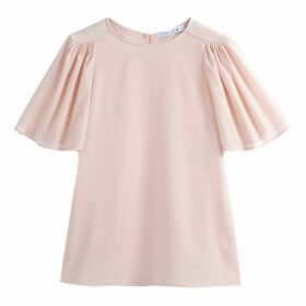 Pleated Ruffle Sleeve Blouse