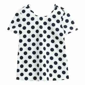 Polka Dot Scalloped Neck Cotton Blouse