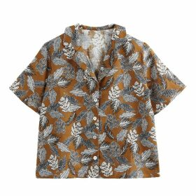 Linen Mix Floral Hawaiian Print Shirt