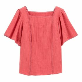 Ruffled Sleeve Cotton Blouse