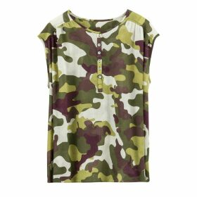 Camouflage Buttoned Top