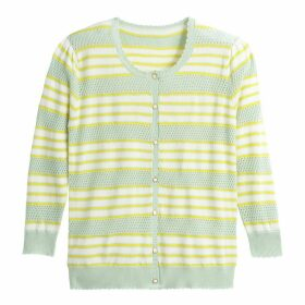 Striped Pointelle Fine Knit Cardigan