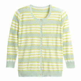 Striped Pointelle Fine Knit Cardigan