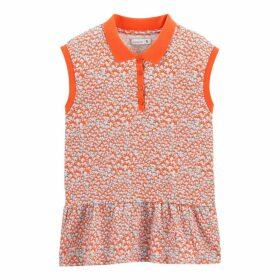 Floral Print Sleeveless Polo Shirt