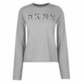 DKNY Long Sleeve Boxy Crew Neck T Shirt Womens