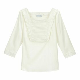 Cotton Ruffled Embroidered Square Neck Blouse
