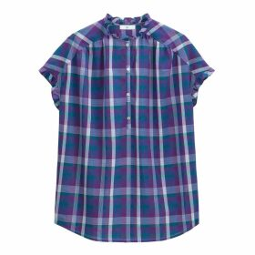 Cotton Checked Ruffled High Neck Tunic