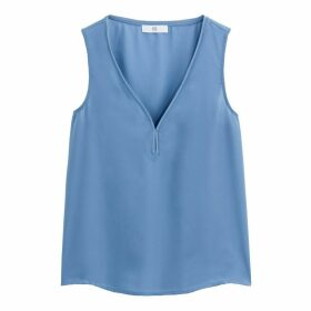 Draping V-Neck Sleeveless Blouse