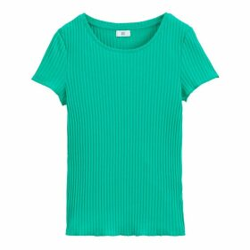 Cotton Ribbed Short-Sleeved T-Shirt