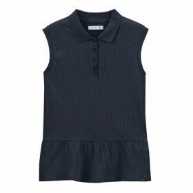 Cotton Sleeveless Polo Shirt with Peplum