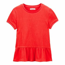 Cotton Gathered Peplum T-Shirt