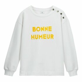 French Slogan Cotton Sweatshirt with Buttoned Shoulders