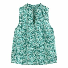Floral Sleeveless Blouse with High-Neck