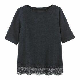 Linen Laced Hem T-Shirt
