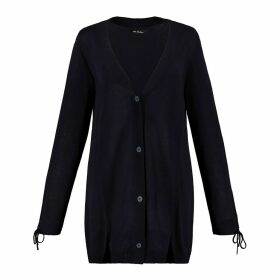 Longline Buttoned Fine Knit Cardigan with Tied Cuffs