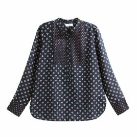Pleated Mandarin Collar Blouse with Tile Print and Long Sleeves