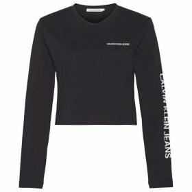 Calvin Klein Jeans Long Sleeve Crop Institutional T Shirt